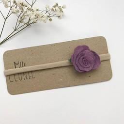 Mlle Léonie Mlle Léonie - Bandeau Individuel Avec Fleur/Individual Headband With Flower, Mauve/Purple