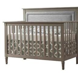Natart Juvenile Nest Provence - Lit de Bébé Convertible 5 en 1 avec Panneau Rembourré, Lin/ Provence 5 in 1 Convertible Crib with Upholstered Panel, Fog