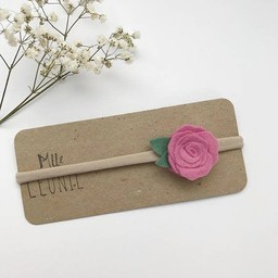 Mlle Léonie Mlle Léonie - Bandeau Individuel avec Fleur /Individual Headband with Flower, Rose Mauve/Purple Pink
