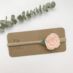 Mlle Léonie Mlle Léonie - Bandeau Individuel avec Fleur /Individual Headband with Flower, Rose Pâle/Pale Pink