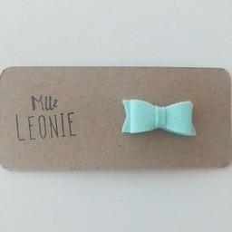Mlle Léonie Mlle Léonie - Mini Barrette Individuelle Boucle en Laine/Mini Wool Buckle Individual Strips, Menthe/Mint