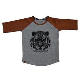 L&P L&P - Chandail Manches 3/4 Tigre /Tiger 3/4 Sleeves Jersey, Gris et Caramel/Caramel and Grey