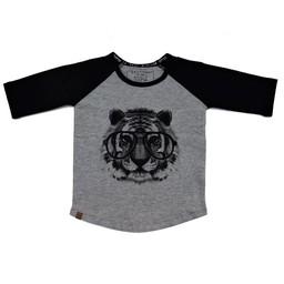 L&P L&P - Chandail Manches 3/4 Tigre /Tiger 3/4 Sleeves Jersey, Gris et Noir/Grey and Black
