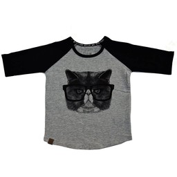 L&P L&P - Chandail Manches 3/4 Chat Choqué/Angry Cat 3/4 Sleeves Jersey, Gris et Noir/Grey and Black