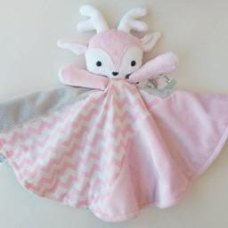 Créations Camomille Créations Camomille - Couverture Tout-Doux/Soft Blanket, Chevreuil Rose/Pink Deer