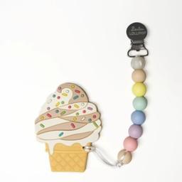 Loulou Lollipop Loulou Lollipop - Jouet de Dentition et Attache Suce/Teether and Pacifier Holder, Crème Glacée et Barbe à Papa/Ice Cream and Cotton Candy