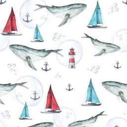 Olé Hop Olé Hop - Couverture en Peluche/Minky Blanket, Baleines/Whales