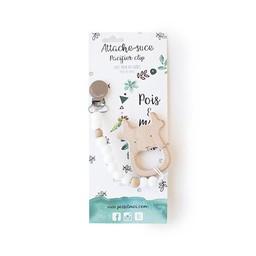 Pois et Moi Pois et Moi - Duo Attache-Suce et Jouet de Dentition Cerf/Duo Pacifier Clip and Deer Teether, Blanc/White