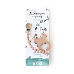 Pois et Moi Pois et Moi - Duo Attache-Suce et Jouet de Dentition Cerf/Duo Pacifier Clip and Deer Teether, Rose Antique/Antic Pink