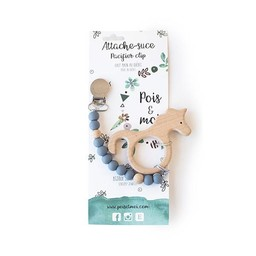Pois et Moi Pois et Moi - Duo Attache-Suce et Jouet de Dentition Licorne/Duo Pacifier Clip and Unicorn Teether, Gris/Grey