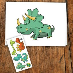 Pico Tatouages Temporaires Pico Tatoo - Carte de Souhait/Wish Card, Dinosaure