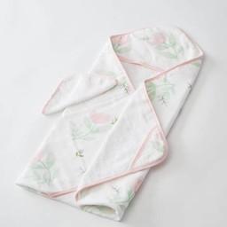 Little Unicorn Little Unicorn - Sortie de Bain et Gant de Toilette/Cotton Hooded Towel and Wash Cloth, Pink Peony
