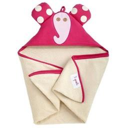 3 sprouts 3 Sprouts - Serviette à Capuchon/Hooded Towel, Éléphant Rose/Pink Elephant