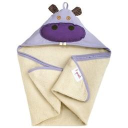 3 sprouts 3 Sprouts - Serviette à Capuchon/Hooded Towel, Hippopotame Mauve/Purple Hippopotamus