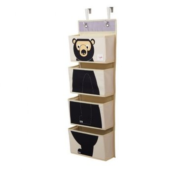 3 sprouts 3 Sprouts - Organisateur Mural/Hanging Wall Organizer, Ours Noir/Black Bear
