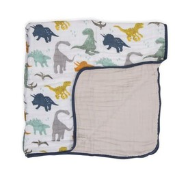 Little Unicorn Little Unicorn - Couette en Mousseline de Coton Grand Format/Cotton Muslin Big Quilt, Ami Dino/Dino Friends
