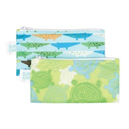 Bumkins Bumkins - Paquet de 2 Sacs à Collation Réutilisables/Set of 2 Reusable Snack Bag, Crocs et Tortue/Crocs and Turtle