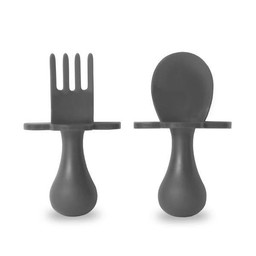 Grabease Grabease - Ensemble de Cuillère et Fourchette/Fork and Spoon Ustensil Set, Gris/Grey