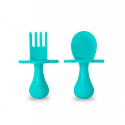 Grabease Grabease - Ensemble de Cuillère et Fourchette/Fork and Spoon Ustensil Set, Sarcelle/Teal