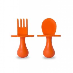 Grabease Grabease - Ensemble de Cuillère et Fourchette/Fork and Spoon Ustensil Set, Orange