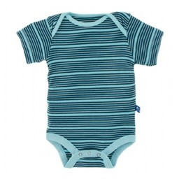 Kickee Pants Kickee Pants - Cache-Couches Manches Courtes/Shorts Sleeves One Piece, Rayure Bleue/Shining Sea Stripe
