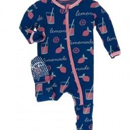 Kickee Pants Kickee Pants - Pyjama à Pattes/Footies, Limonade Rose/Pink Lemonade
