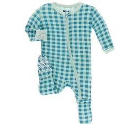 Kickee Pants Kickee Pants - Pyjama à Pattes/Footies, Vichy Pistache/Pistachio Gingham