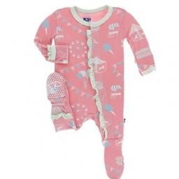 Kickee Pants Kickee Pants - Pyjama à Pattes Classique avec Volants/Classic Ruffle Footie,Carnaval Rose/Strawberry Carnival