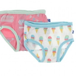 Kickee Pants Kickee Pants - Ensemble de 2 Sous-Vêtements pour Fille/Set of 2 Girl Underwear, Crème Glacée/Natural Ice Cream