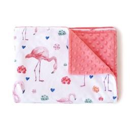 Olé Hop Olé Hop - Couverture en Peluche/Minky Blanket, Flamants/Flamingos