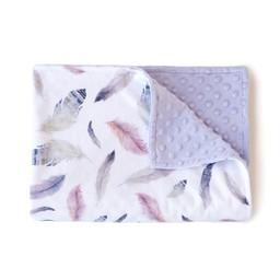 Olé Hop Olé Hop - Couverture en Peluche/Minky Blanket, Plumes Rose/Pink Feathers