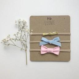 Mlle Léonie Mlle Léonie - Trio de Bandeaux Boucles Mixtes/Headbands Mixed Buckles Trio, Mini Fleuris Jaune, Nouée Bleu, Tissu Rose/Mini Fleuris Yellow, Knotted Blue, Pink Fabric