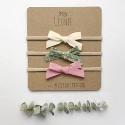 Mlle Léonie Mlle Léonie - Trio de Bandeau avec Boucle Nouée en Tissu/Headbands Trio with Knotted Fabric Buckle, Crème, Vert Fleurs et Rose/Cream, Green Flower and Pink