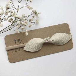 Mlle Léonie Mlle Léonie - Bandeau Individuel Boucle Papillon en Cuir/Butterfly Knot Leather Individual Headband, Crème/Cream
