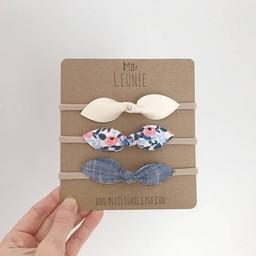 Mlle Léonie Mlle Léonie - Trio de Bandeaux Boucle Papillon/Headbands Trio Butterfly Bows, Crème, Fleurs et Jeans/Cream, Flower and Jeans