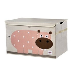 3 sprouts 3 Sprouts - Coffre à jouets/Toy Chest, Hippopotame Rose/Pink Hippo