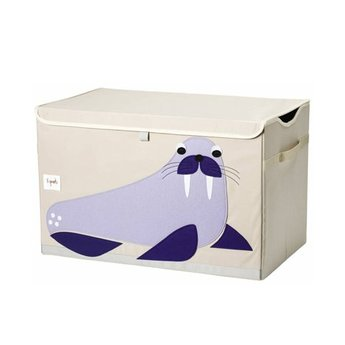 3 sprouts 3 Sprouts - Coffre à Jouets/Toy Chest, Morse Mauve/Purple Walrus