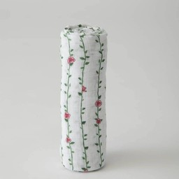 Little Unicorn Little Unicorn - Couverture en Mousseline de Coton à l'Unité/Single Cotton Muslin Blanket, Vignes de Rose/Rose Vine