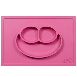 Ezpz EzPz - Napperon et Assiette Tout-en-un Happy Mat/Happy Mat All-in-one Placemat and Plate, Rose/Pink