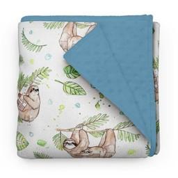 Olé Hop Olé Hop - Couverture en Peluche/Minky Blanket, Paresseux/Sloths