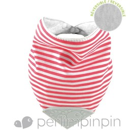 Perlimpinpin Perlimpinpin - Bavoir de Dentition Réversible/Reversible Theeting Bib, Rayé Rouge/Red Striped