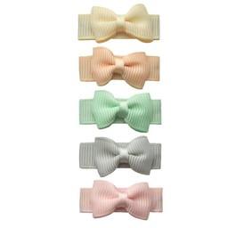 Baby Wisp Baby Wisp - Ensemble de 5 Boucles à Pince Grosgrain / 5 Pack Snap Clips Grosgrain Bow, Pastel