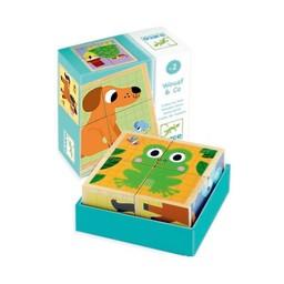Djeco Djeco - Cubes en Bois Wouaf &Co/Wouaf & Co Wooden Blocs