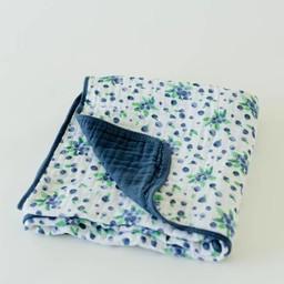 Little Unicorn Little Unicorn - Couette en Mousseline de Coton / Cotton Quilt, Bleut/Blueberry