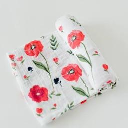 Little Unicorn Little Unicorn - Couverture en Mousseline de Coton à l'Unité/Single Cotton Muslin Blanket, Summer Poppy