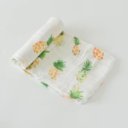 Little Unicorn Little Unicorn - Couverture en Bambou à l'Unité/Single Bamboo Muslin Blanket, Ananas/Pineapple