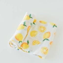 Little Unicorn Little Unicorn - Couverture en Mousseline de Coton à l'Unité/Single Cotton Muslin Blanket, Lemon