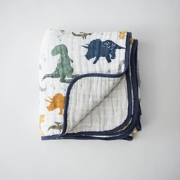 Little Unicorn Little Unicorn - Couette en Mousseline de Coton/Cotton Quilt, Dinosaures/Dino Friends