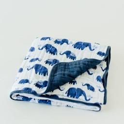 Little Unicorn Little Unicorn - Couette en Mousseline de Coton/Cotton Quilt, Éléphant D'inde/Indie Elephant