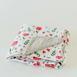 Little Unicorn Little Unicorn - Couette en Mousseline de Coton/Cotton Quilt, Summer Poppy